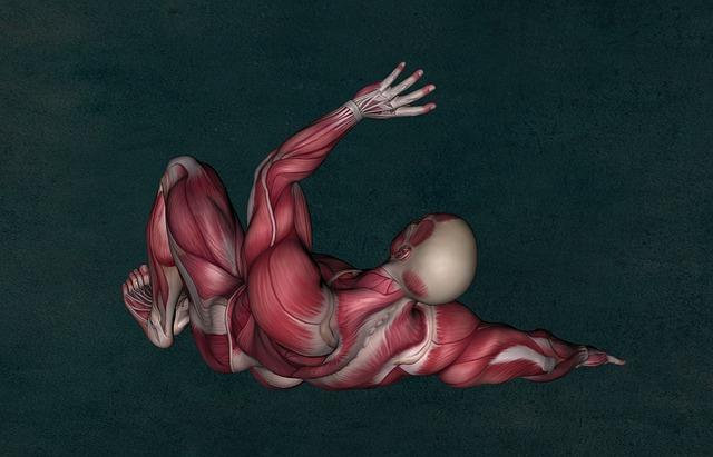 Nakreslená postava, ktorej vidieť svaly, vstáva zo zeme